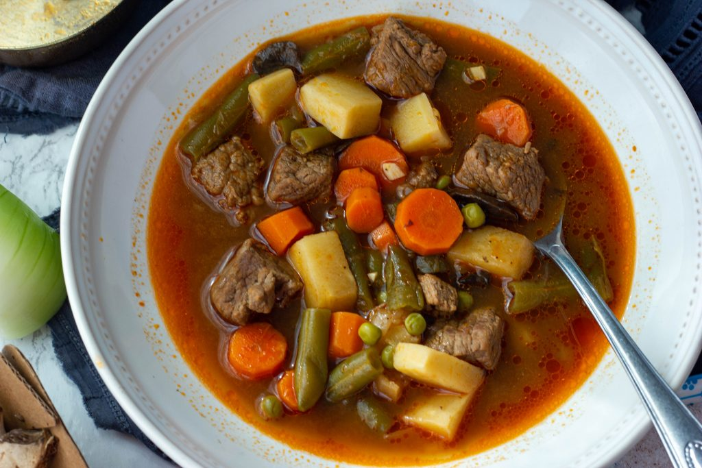 Savory and hearty low carb vegetable beef soup is a one bowl meal that will keep your belly warm and full on a cold night! Keto, paleo, whole30 compliant.